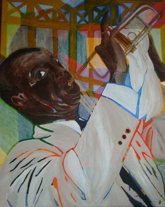 En Hyldest til Jazz. er under hammeren på Lauritz.com moderne dekorativt maleri Herning til i aften 18,10