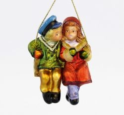 Couple on a swing (matt) - Polishchristmasornaments