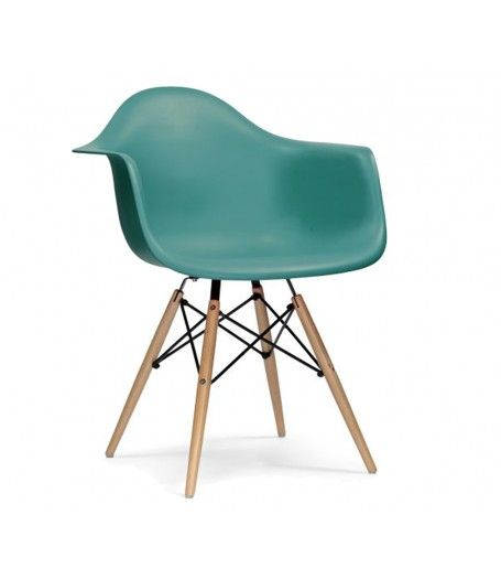 Charles Ray Eames Style DAW Arm Chair - Teal NEW