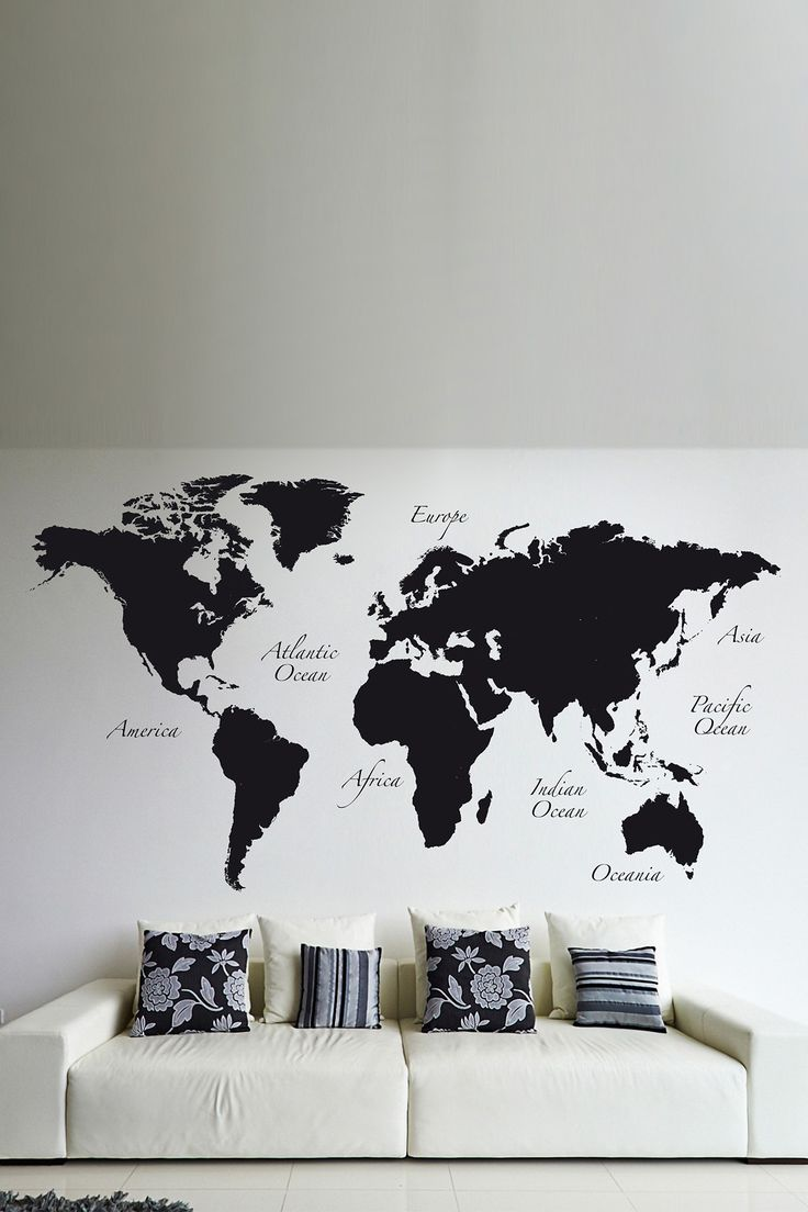 Brewster Home Fashions Black World Map Wall Decal Idea