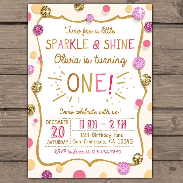 Sparkle And Shine Birthday Party Invite Gold Glitter Pink