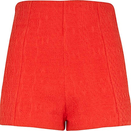 Red cable knit high waisted smart shorts £10.00