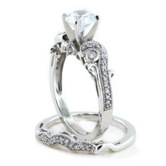 Moissanite Wedding Set Engagement Ring and by SerenadeDiamonds, $1880.01