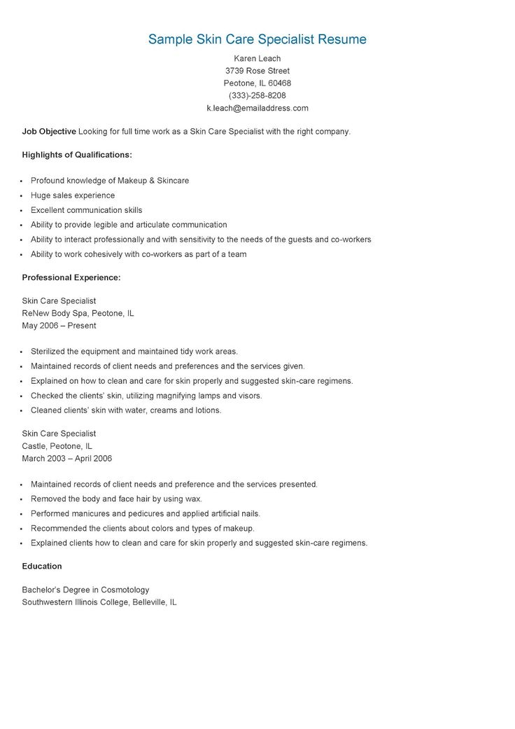 Esthetician Resume Samples Intended For 1 Sample Examples Medical No