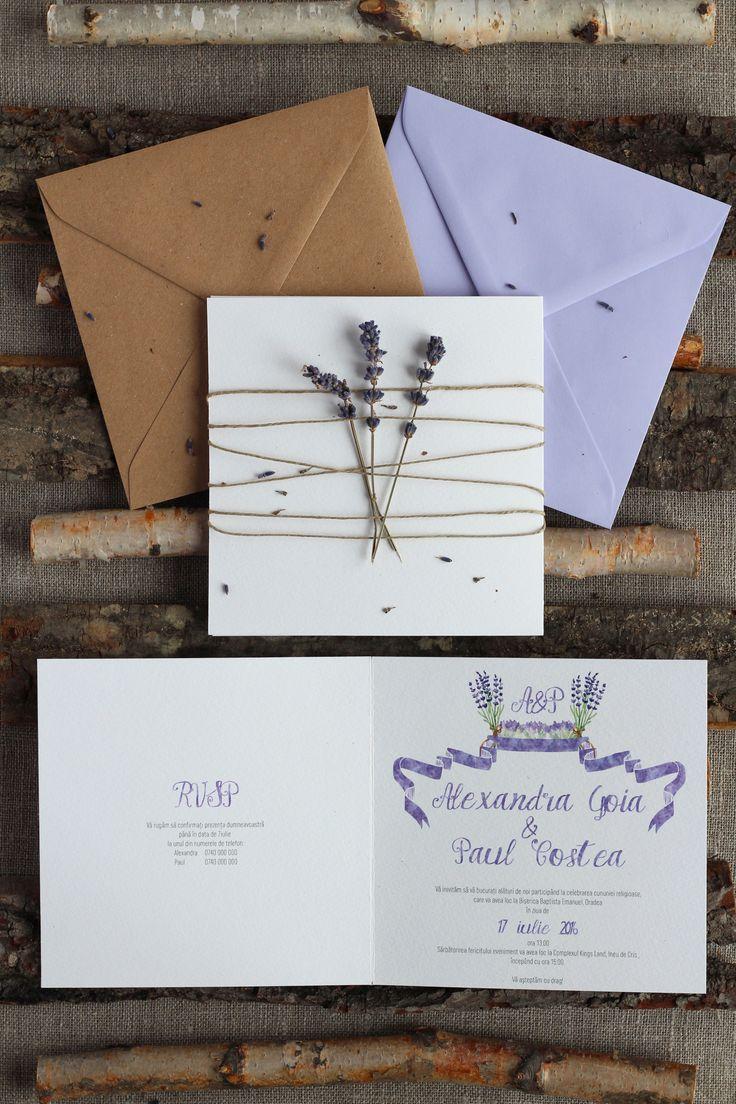 Invitatii de nunta Papira / Rustic lavander wedding invitation