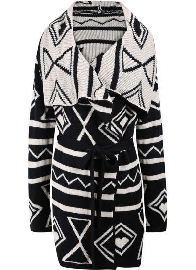 Black Long Sleeve Wide Lapel Geometric Knitting Belt Sweater Coat