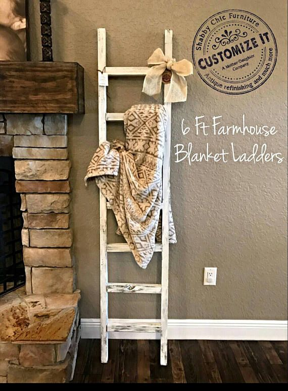 Best Seller 10 Off With Code Ladder10 At Checkout Handmade Farmhouse Blanket Holder Can Be Customized To Any Size Home Decor Decor Handmade Home Decor