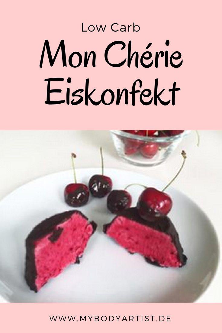 Schnell, lecker und gesund. Für dieses Low Carb Mon Cherie Eiskonfekt brauchst Du nur 4 Zutaten und beim Abnehmen hilft es Dir auch noch. Das Rezept findest Du auf unserem Blog auf www.mybodyartist.de!