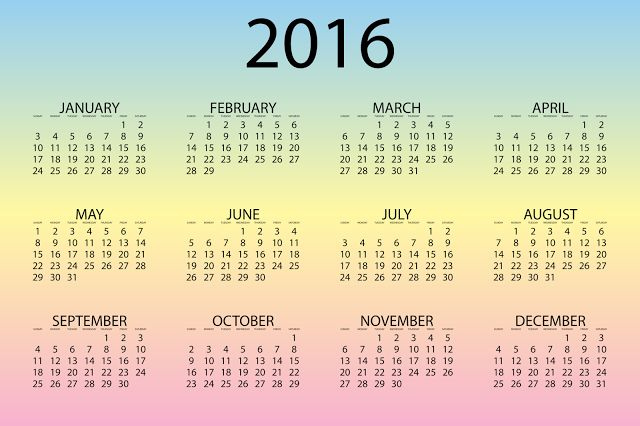 Happy New Year 2016 Holiday Calender
