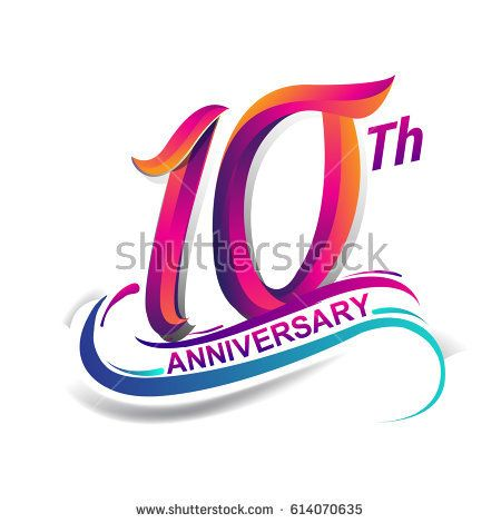 10th anniversary celebration logotype blue and red colored. ten years birthday logo on white background.