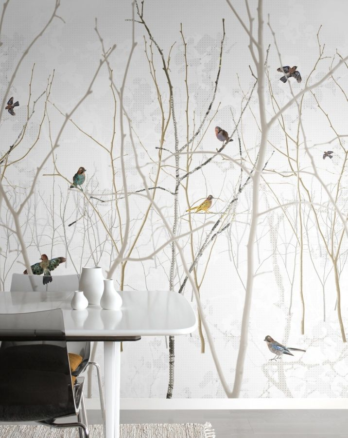 Pattern Jay wallpaper mural birds white £37/sq m