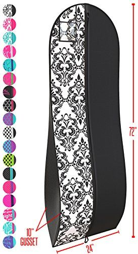 "Gusseted Gown Garment Bag for Women's Prom and Bridal Wedding Dresses - Travel Folding Loop, ID Window-72"" x 24"" with 10"" Tapered Gusset - Black and White - by Your Bags - Keep your cherished gowns and dresses protected in this premium quality garment bag from Your Bags. This garment bag makes preparing for formal affairs less stressful. Show off your unique style with beautiful damask and polka dot prints in stunning colors. You'll feel at ease knowing that your b..."