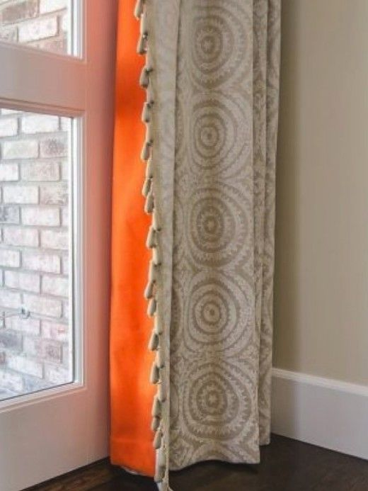 fun idea, adding using a bright color for lining curtains. maybe with bright yellow?