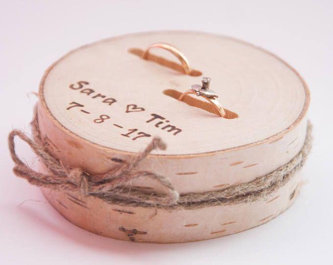 Rustikale Ring Inhaberaktien Kissen, Hochzeit-Holz-Scheibe, rustikale Ring-Box, …