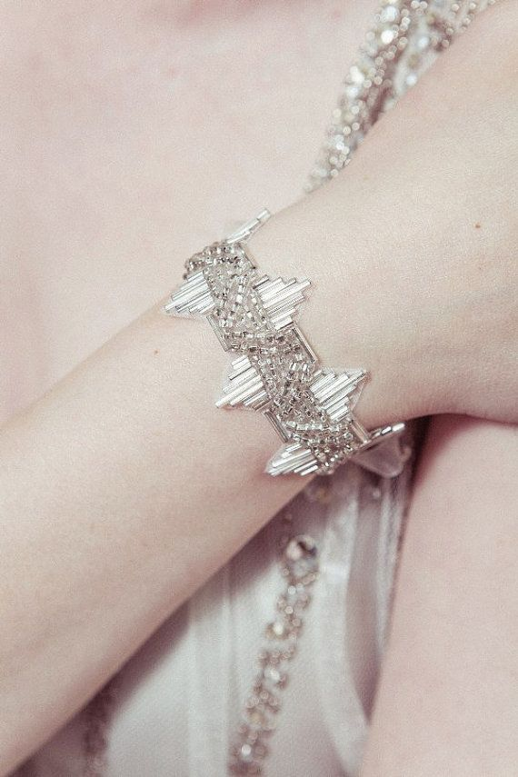 Bridal cuff - 'Delores' 1920s wedding bracelet with antique silver Deco beading on Etsy, $40.00
