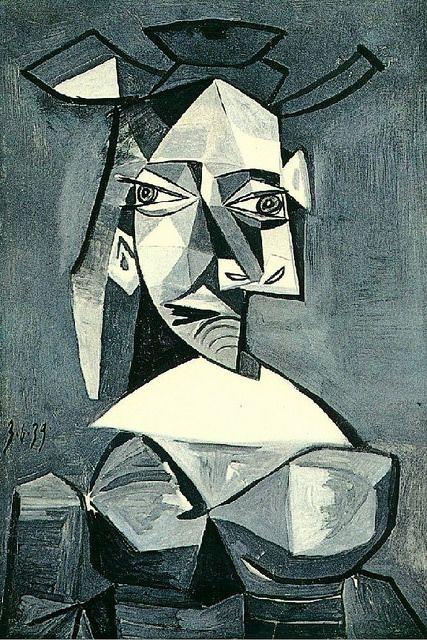 Pablo Picasso -  1881 - 1973  pintor y escultor. Buste de femme au chapeau 1939 Artista radical y creador, junto con Georges Braque, del cubismo.arte que inspiró al resto de las vanguardias con  la negación de la forma como elemento pictórico convencional