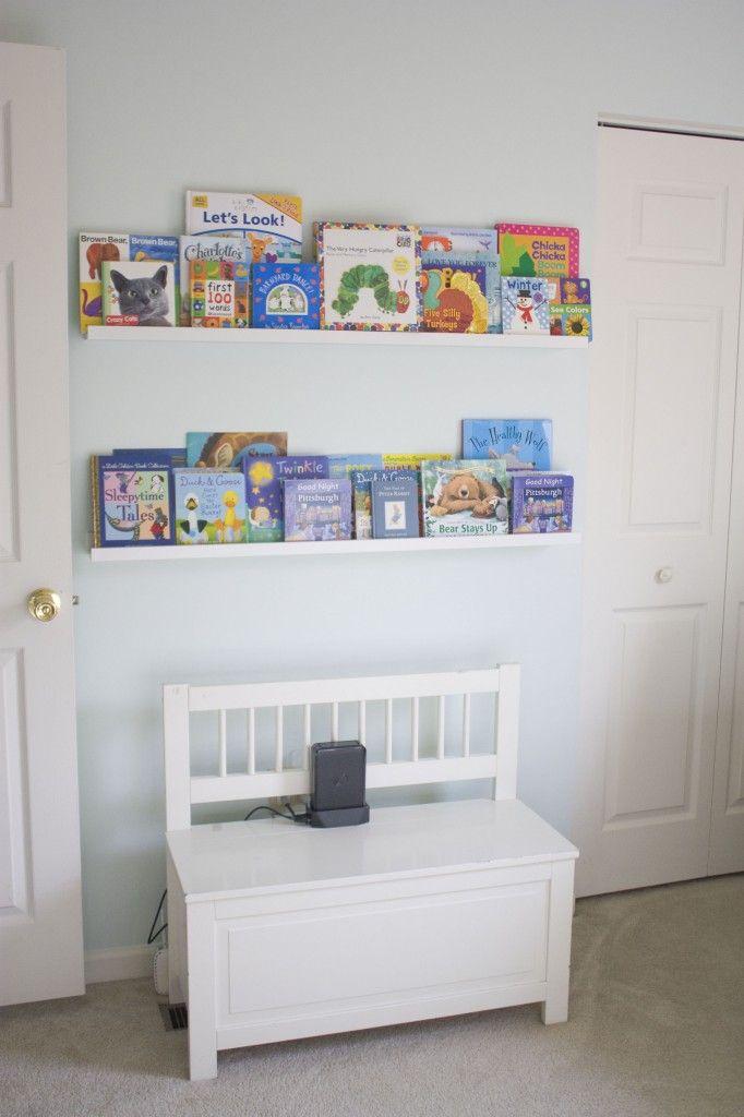 Great way to keep your kids book organized. #storage