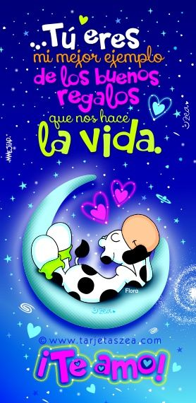 Vaca Flora recostada en la luna © ZEA www.tarjetaszea.com