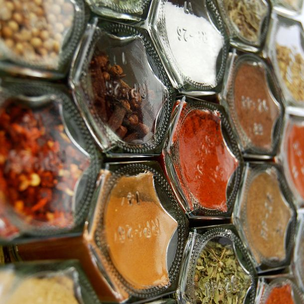 Magnetic hexagon spice containers. Aww yeah. #science #magnets