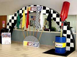 nascar party decorations | nascar arch flowing fueling can nascar flag se