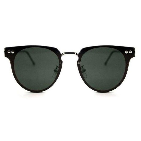 Spitfire Cyber Silver/Black Sunglasses ($49) ❤ liked on Polyvore featuring accessories, eyewear, sunglasses, glasses, green, silver black, silver sunglasses, spitfire glasses, lens glasses and metal frame sunglasses