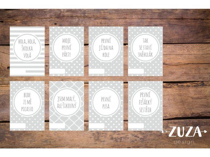 Milníkové kartičky jsou perfektní a stylovou pomůckou k zachycení nejdůležitějších momentů vašeho děťátka.  Děťátko můžete s kartičkami vyfotit nebo vložit do alba vedle konkrétní fotografie. Kartičky obsahují kolonku do které můžete dopsat datum. Kartičky jsou perfektním dárkem pro nastávající rodiče.  Sada obsahuje 35 designových milníkových kartiček.  Kartičky jsou z kvalitního 300g/m2 papíru. Rozměr: 10,5x14,8cm (A6).