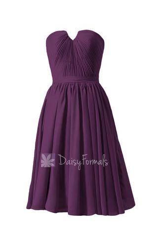 New Fashion Strapless Purple Chiffon Bridesmaid Dress W/Inserted V-Neck(BM10823S) – DaisyFormals-Bridesmaid and Formal Dresses in 59+ Colors