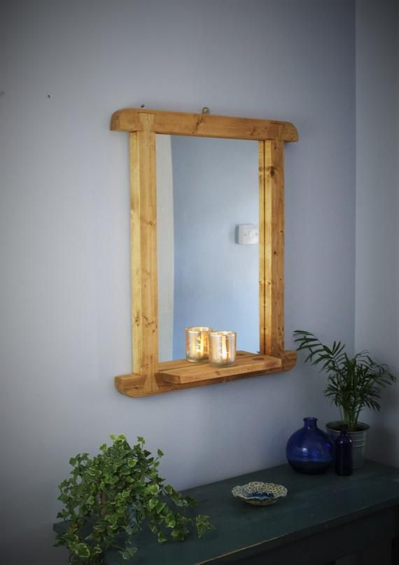 Wooden Wall Mirror With Shelf Rustic Light Wood Thick Curved Frame Sustainable Wood 65 Tall X 55w Cm Custom Handmade In Somerset Uk Mirror Wall Modern Mirror Wall Rustic Wall Mirrors