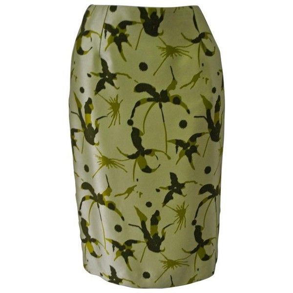Preowned Elegant And Unique Gianni Versace Couture Frond Print Silk... (48.860 RUB) ❤ liked on Polyvore featuring skirts, brown, pencil skirts, silk pencil skirt, patterned pencil skirt, patterned skirts, green pencil skirt and print skirt