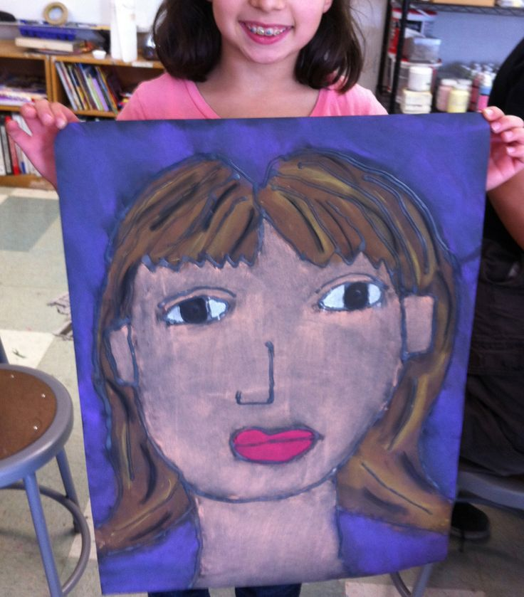 "Supersize me! Glue and Chalk Pastel portrait on an 18"" x 24"" paper. #artprojectsforkids"