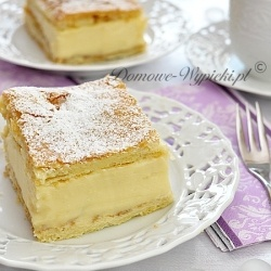 Creme Slices with a puff pastry and a pudding filling (recipe in Polish with translator)