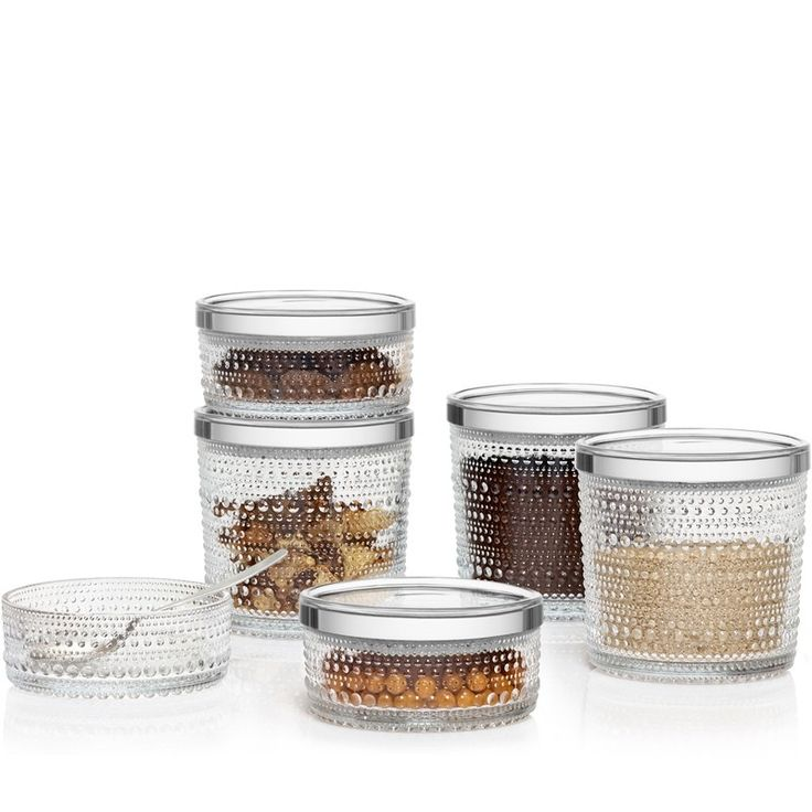 Kastehelmi Jars from Iittala, Fantastic, 'dewdrop' storage jars to add to the collection originally designed in the 60's, they come in clear, grey & desert, store or serve in style.