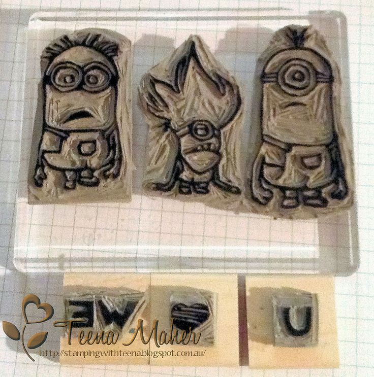 Minions Undefined Stamps carved by Teena MaherMinions Undefined, Stamps Carvings, Stampin Up, Minions Stamps, Minions Stampin, Minions Carvings, Adorable Minions, Undefined Stamps, Carvings Kits