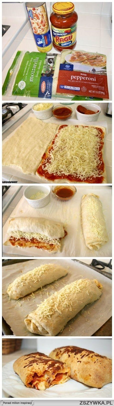 super easy calzones. Add your own fillings
