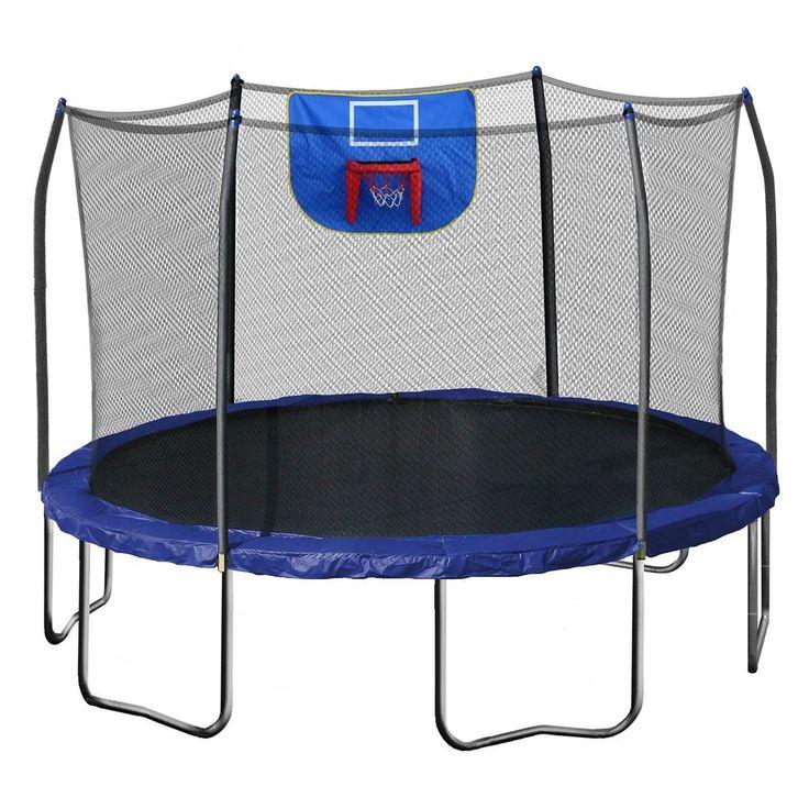 skywalker trampolines 12-foot trampoline with safety enclosure blue