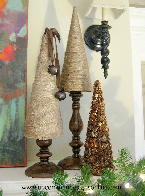 Burlap and Twine Christmas Trees - these would be a nice change from candles on my mantle.