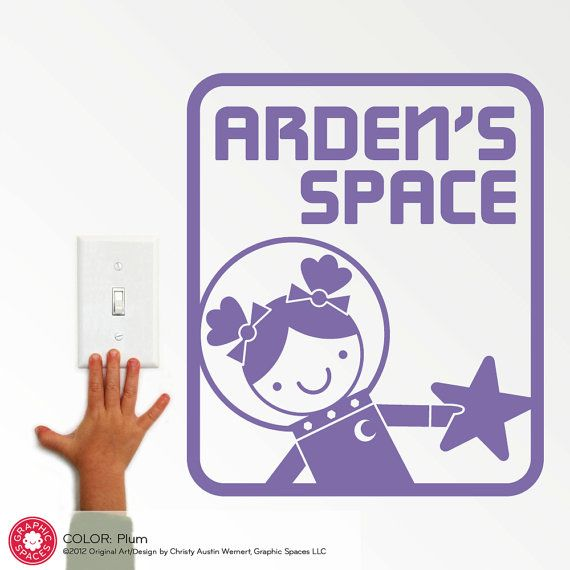 Space Girl Room Sign Wall Decal Outer Space Theme Room