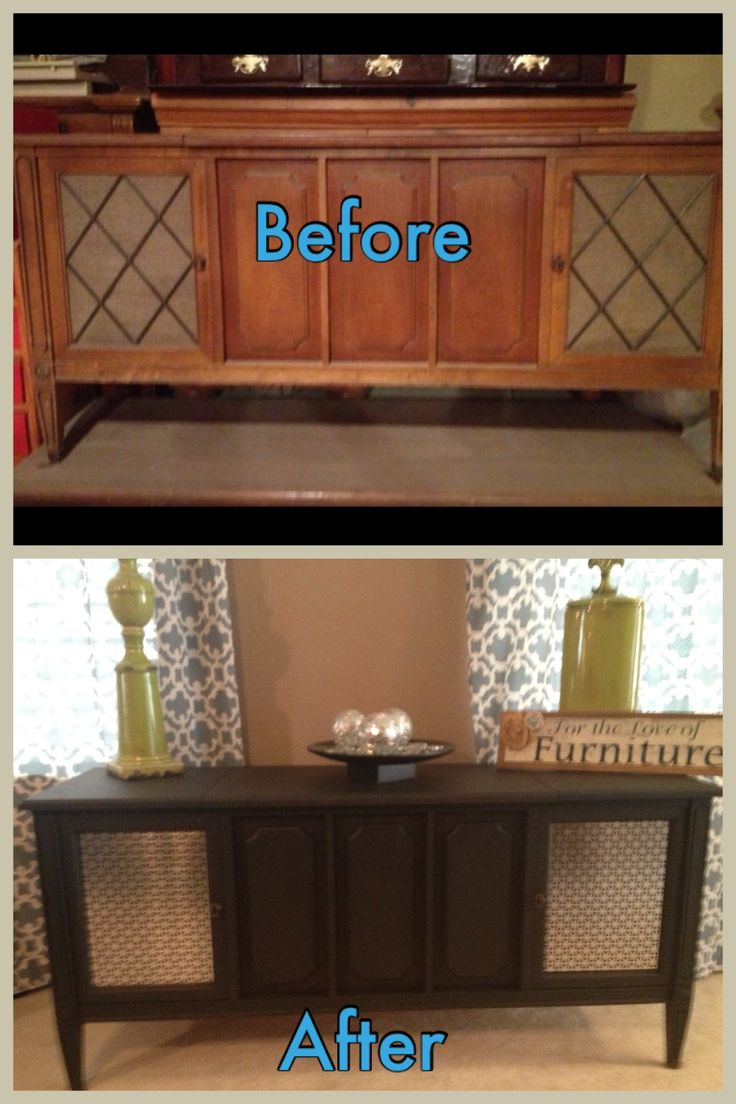 Vintage stereo console I refinished for a client. Painted black and added decorative tin in place of fabric . This is one of my favorite pieces I wanted to keep it!  Check out my work on my Facebook page  For the Love of Furniture