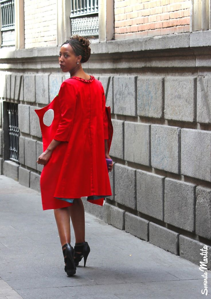 Red coat/dress with buttons and zip - Señorita Martita ® summer collections