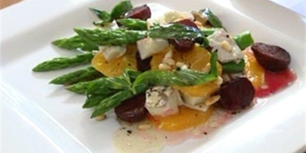 Asparagus, Orange, Beetroot and Goats Cheese Salad with Walnut dressing: Video Cook Along: Pete Evans
