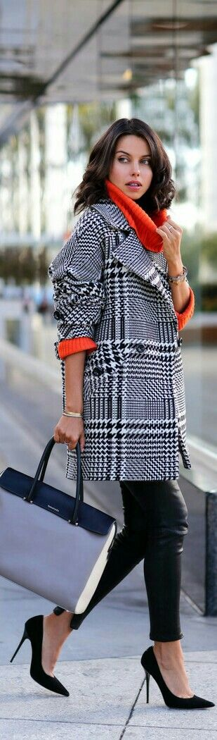 Love the Houndstooth Coat with bright top and ankle pants!!!