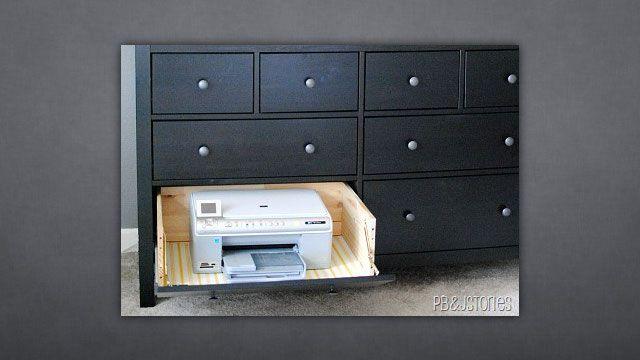 hide away printer: Hide Away Printer, Hinged Drawer, Printer Drawer, Drawer Printer, Printer Space, Tiny Spaces, Drawers, Printers Drawer, Reading Spaces