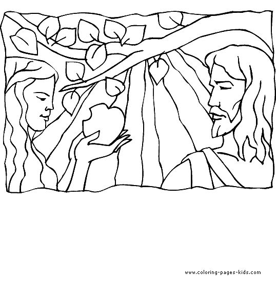 Adam And Eve An Apple Bible Story Color Page Religious Religion Coloring Pages