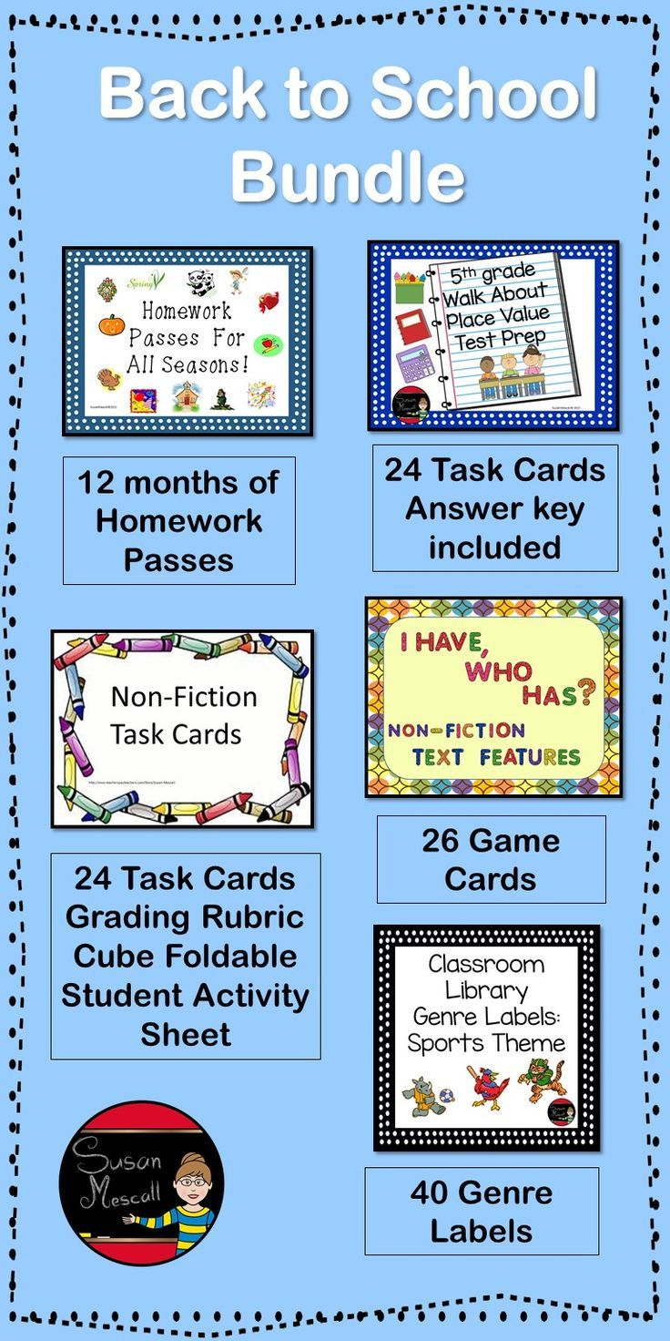 $  This BACK TO SCHOOL BUNDLE will make getting ready for a new school year a great deal easier!   This bundle contains: Homework Passes For All Seasons Classroom Library Genre Labels:Sports Theme Nonfiction I Have Who Has Text Features Nonfiction Task Cards  5th Grade Walk About Place Value Test Prep  Susan Mescall