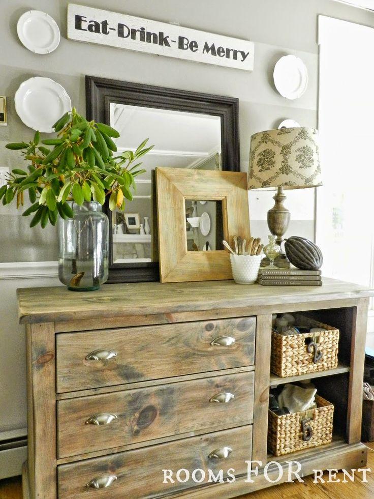 Farmhouse style. Love the distressed repurposed dresser. Gorgeous decor. My kitchen please.