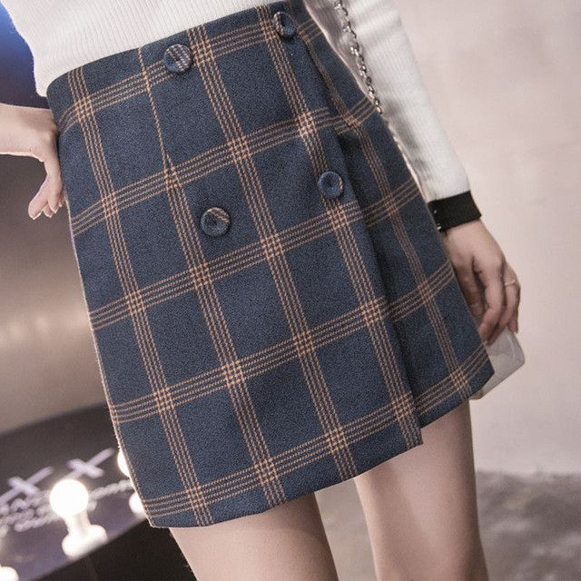 autumn and winter women college wind wild kawaii fashion lattice button woolen Retro High waist a-line skirt Package hip skirt