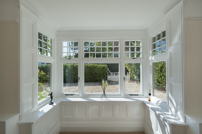 Internal shot of a square bay window fitted with R9 windows.