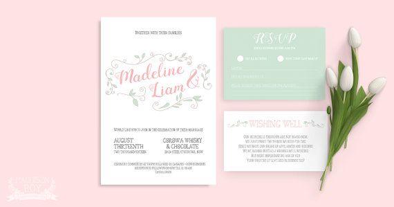 Simple Rustic Vine ~ Wedding Invitation Suite ~ DIY Template Printable