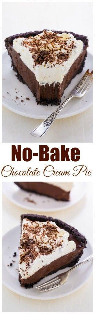 Silky smooth No-Bake Chocolate Cream Pie! This insanely easy recipe can be made ahead of time and frozen for 2 months.(Best Chocolate Pie)