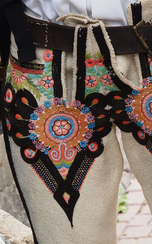 Regional costumes of Poland: Zakopane (Kościelisko).  Embroidery on trousers.